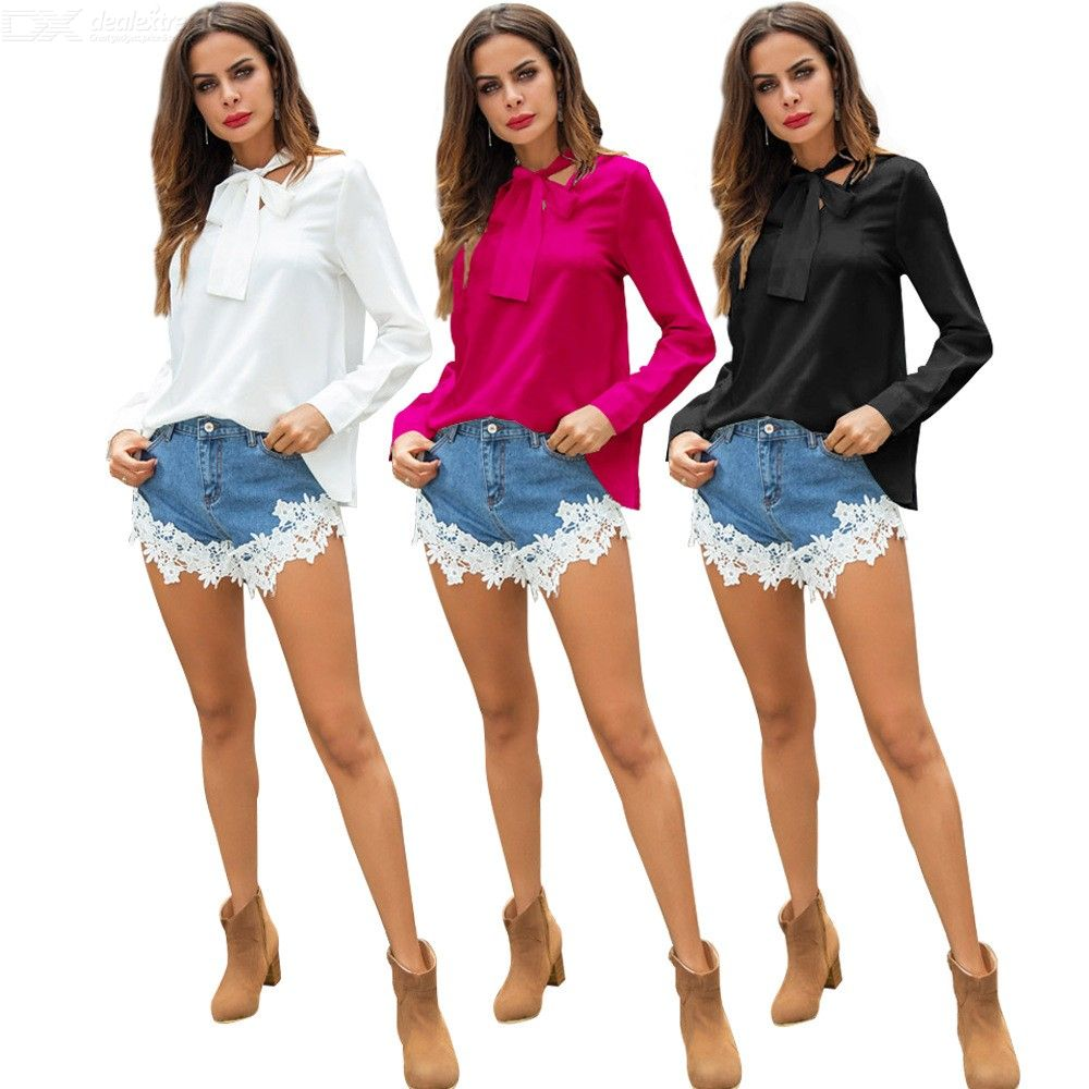 Autumn Winter New Blouses Solid Color Lace Up Bow Elegant Long Sleeve Slim Shirts For Women