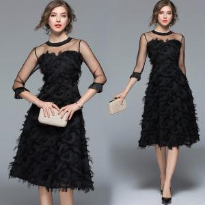 Womens Round Neck Elbow-length Sleeve Mesh Ball Gown, Matching Patchwork Mesh Dress For Women