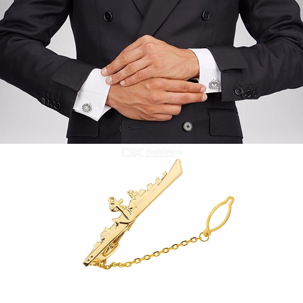 Mens Creative Warship Metallic Tie Clips, Fashionable Metal Tie Pins For Men