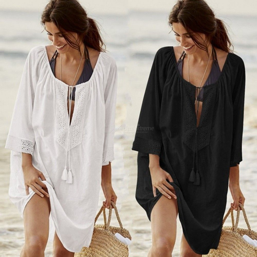 Womens Loose-fitting Lace Swimsuit Cover-up, Solid Openwork Lace Beach Dress For Women