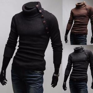 Mens Casual High Collar Slim Sweater, Solid Wool Knitted Pullover With Button Details