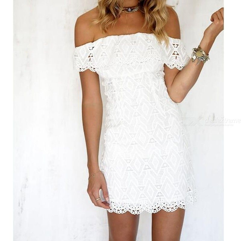 White A Line Lace Hollow Sexy Dress Solid Off Shoulder Mini Wedding