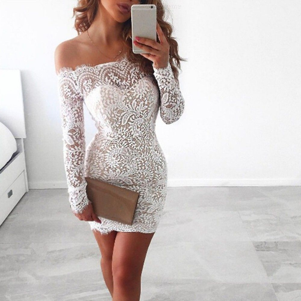 Sleeve Off Dresses Slim Mini Lace Party Sexy White Dress Evening Long For Shoulder Bodycon Pencil Women srhCtQdx