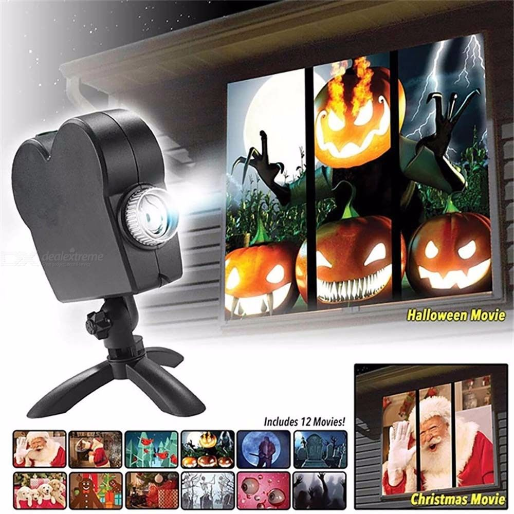 Mini Laser Projector Window Show Included 12 Moving Movies Indoor Outdoor Stage Light Projectors For Christmas Halloween