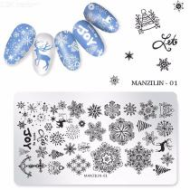 6*12cm Christmas Cartoon Print Stainless Steel Nail Art Stamping Plate