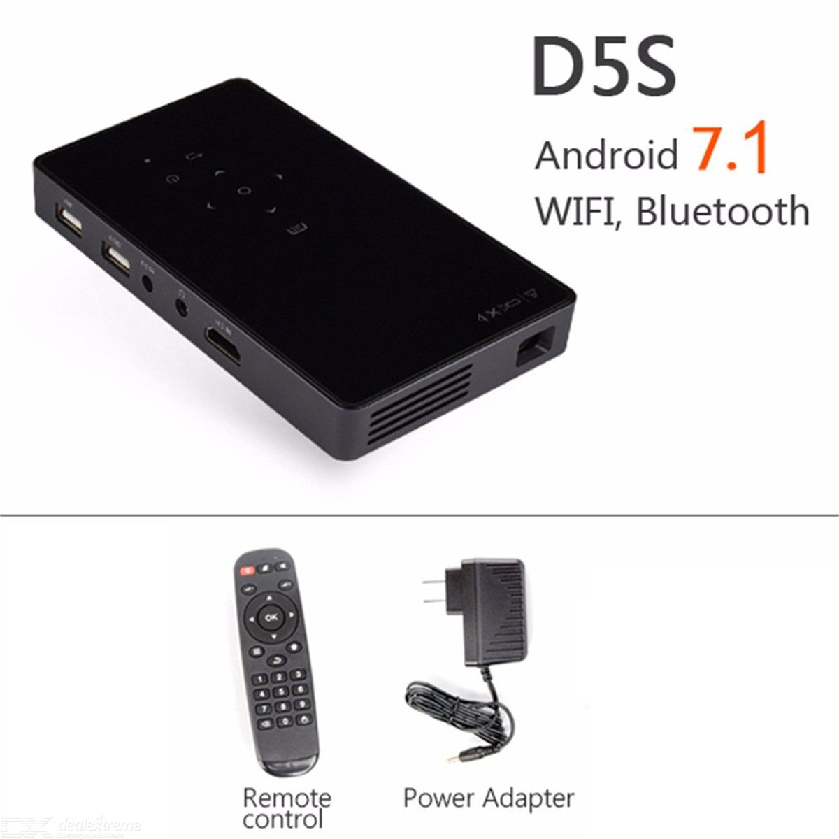 D5S Mini Portable Android 7.1 Projector Built-in Wi-Fi Bluetooth Mini Projector Portable Projector Home Cinema black