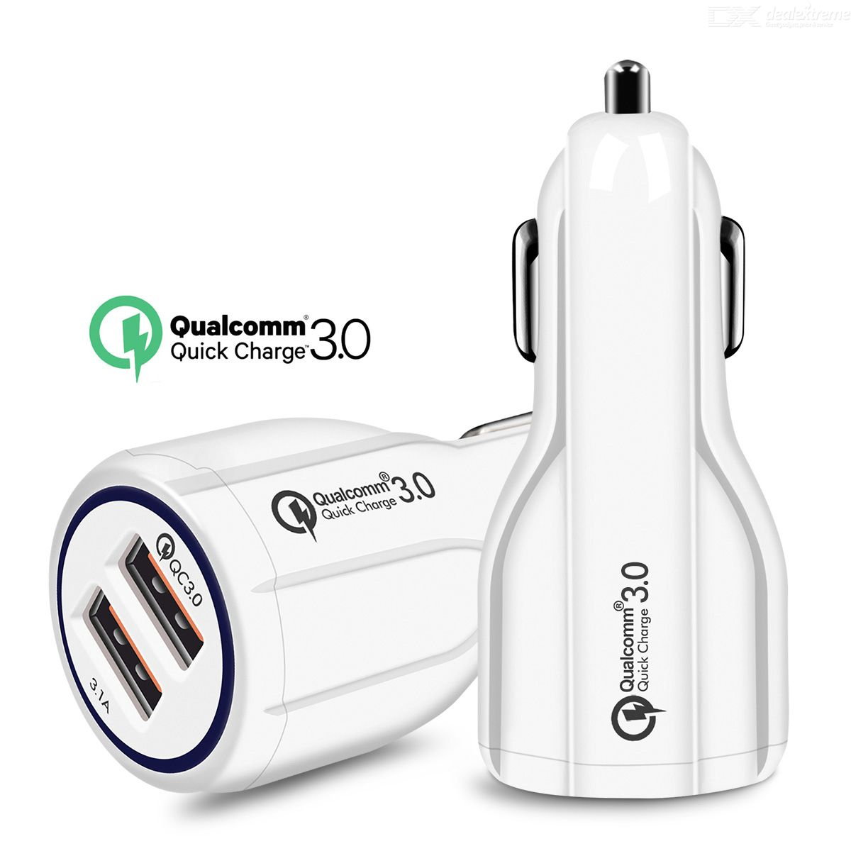 Measy Quick Charge 3.0 Car Charger For Mobile Phone Dual Usb Car Charger - White