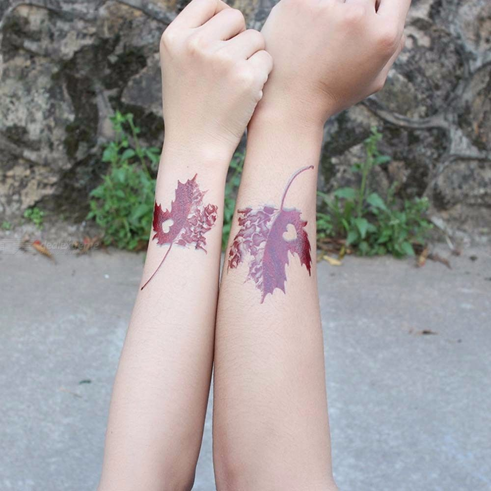 3D Maple Leaf Colorful Flowers Body Art Waterproof Temporary Tattoo Sticker For Lovers Couples
