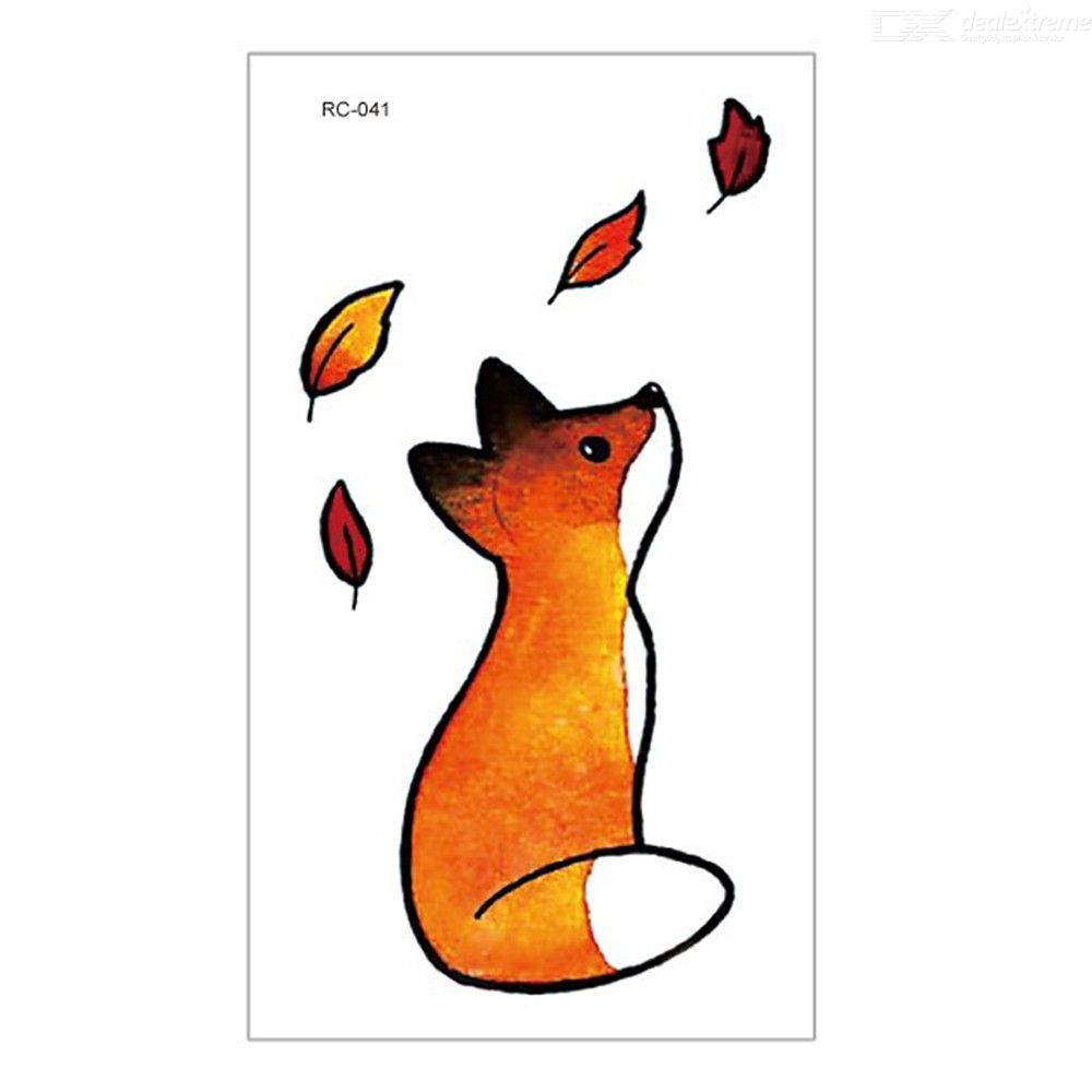 Waterproof Body Art Cute Colorful Fox Temporary Tattoos Stickers 105*60mm