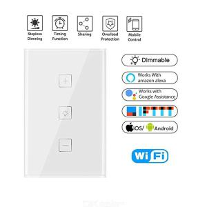 Wall Smart WiFi Touch Control Stepless Dimmer Switch Timing Schedule Compatible With Alexa/Google Home