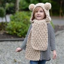 Childrens-Thick-knitted-Koala-Headscarf-Handmade-All-in-one-Hat-Scarf-Set