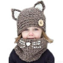Childrens-Thick-knitted-Headscarf-Cute-Cat-Plush-Hat-Scarf-Set