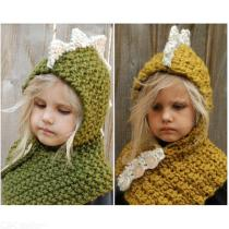 Childrens-Thick-knitted-Headscarf-Unisex-Cute-Dinosaur-All-in-one-Hat-Scarf-Set