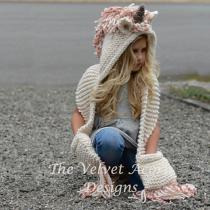 Childrens-Thick-knitted-Headscarf-Unicorn-Shape-All-in-one-Hat-Scarf-Set
