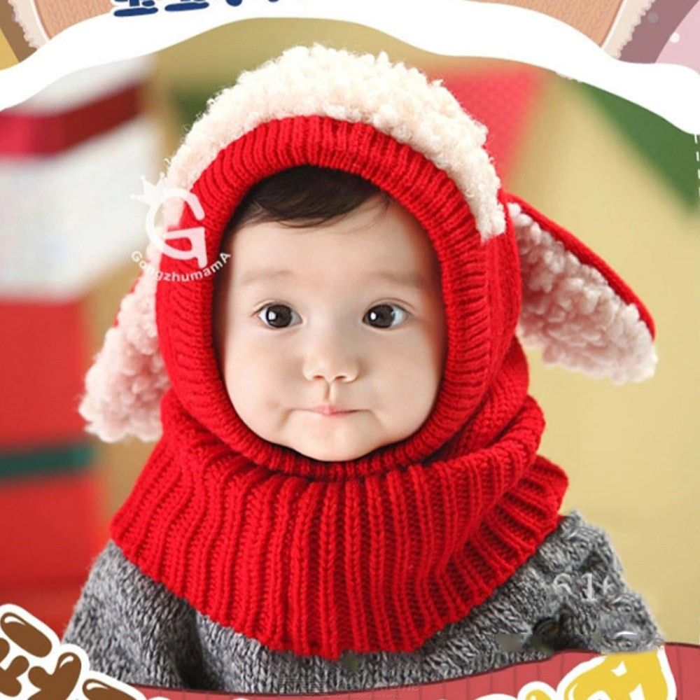 Childrens Thick-knitted Headscarf All-in-one Cute Hat Scarf Set