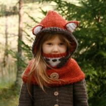 Childrens-Thick-knitted-Headscarf-Fox-Shape-All-in-one-Hat-Scarf-Set