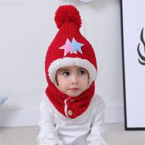 Childrens-Thick-knitted-Headscarf-Warm-Plush-Hat-Scarf-Set