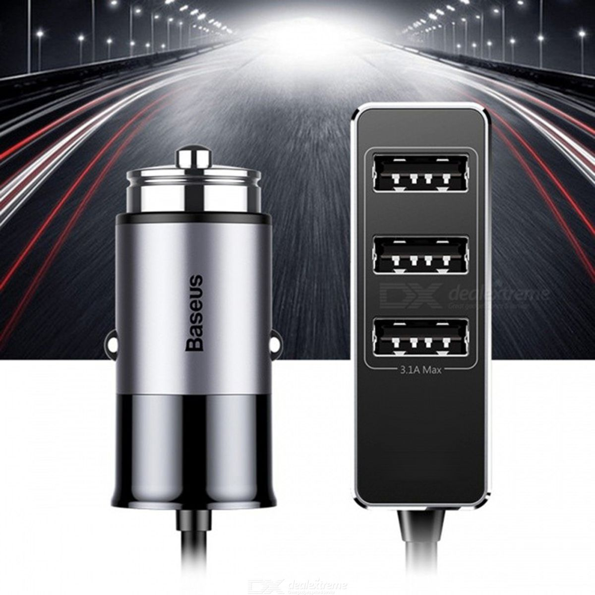 Baseus 5.5A 4-Port USB Car Charger, Multiple Expander Car-charger Adapter, Fast Charge Mobile Phone ChargerUniversal