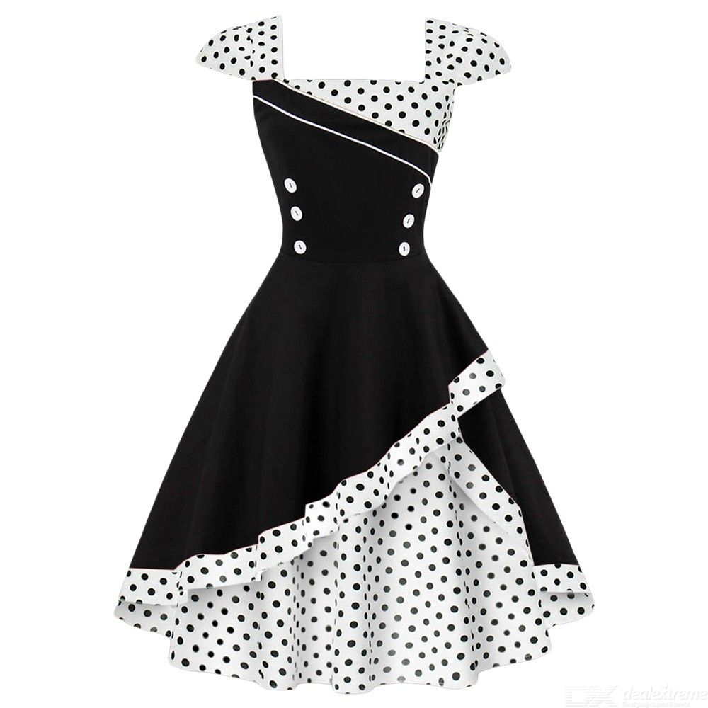 Vintage | Summer | Polka | Retro | Party | Dress | Women | Print | Gown | Dot