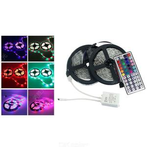 2PCS Waterproof LED Light Strip 5M 72W RGB Color Changing Lighting Rope W/1 PC 44 Key IR Controller US Plug