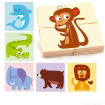 24PCS-Educational-Wooden-Pegged-Puzzles-For-Toddler-Cartoon-Animal-Learning-Jigsaw-Set