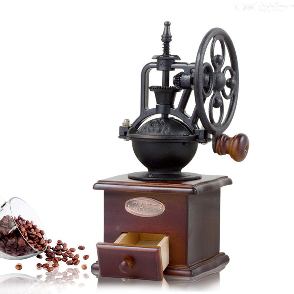 Retro Steel Wooden Coffee Bean Mill Wheel Design Hand Coffee Grinding Machine