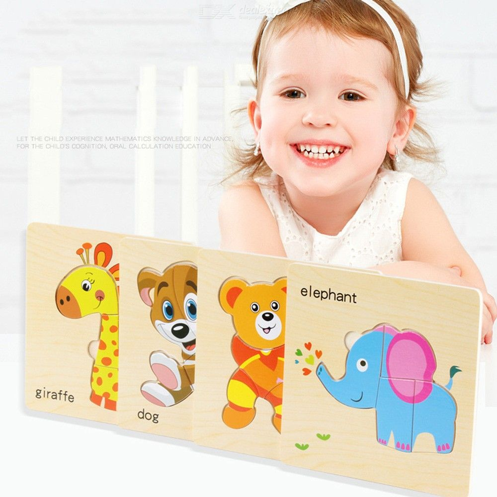 8PCS Large Cartoon Animal Wooden Pegged Puzzles For Toddler Educational Learning Jigsaw Set
