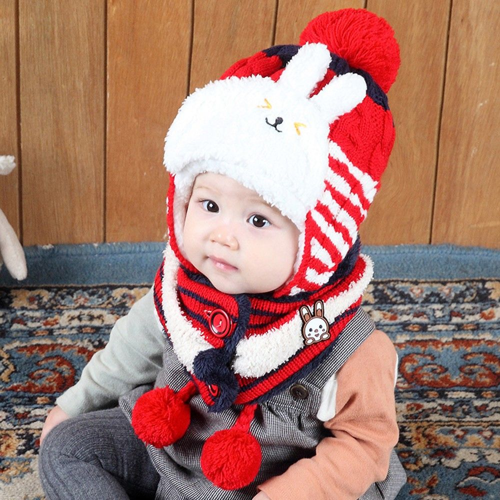 Childrens Thick-knitted Headscarf Cute Rabbit Shaped All-in-one Hat Scarf Set