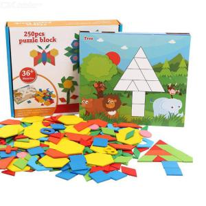 250PCS Wooden Tangram Puzzles Educational Learning Jigsaw For Toddler