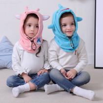 Childrens-Thick-Headscarf-Animal-Shaped-All-in-one-Hat-Scarf-Set