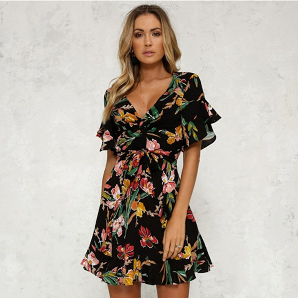 BOHO Floral Print Beach Dress V Neck Butterfly Sleeve Mini Dresses For Women