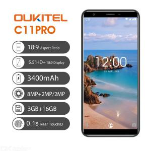 OUKITEL C11 Pro 5.5 Inch Phone Quad Core 3 Cameras 3GB RAM 16GB ROM Smart Phone W/ 1PC Cable 1PC Charger