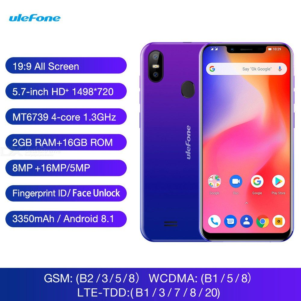 Ulefone S10 Pro 5.7 Inch Android 8.1 MT6739 3350mAh Battery 199 Screen 4G Phone With 2GB RAM 16GB ROM