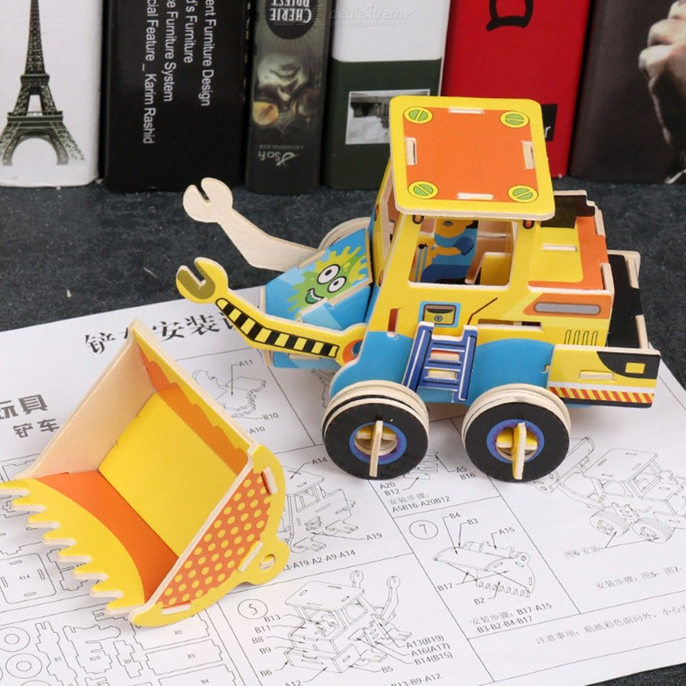 Creative 3D Puzzles Educational Wooden Engineering Vehicle Jigsaw