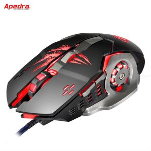 Apedra A8 Wired Gaming Mouse Ergonomic USB 6-button Game Mice 1200 To 3200 Four DPI Levels