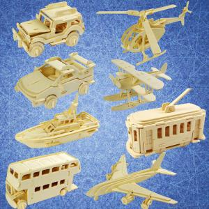 Creative 3D Wood Model Educational DIY Wooden Transportation Set