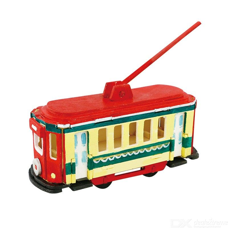 Creative 3D Wooden Puzzles Educational Transportation Assembly Jigsaw For Toddlers W/5PCS Pigments 1PC Brush