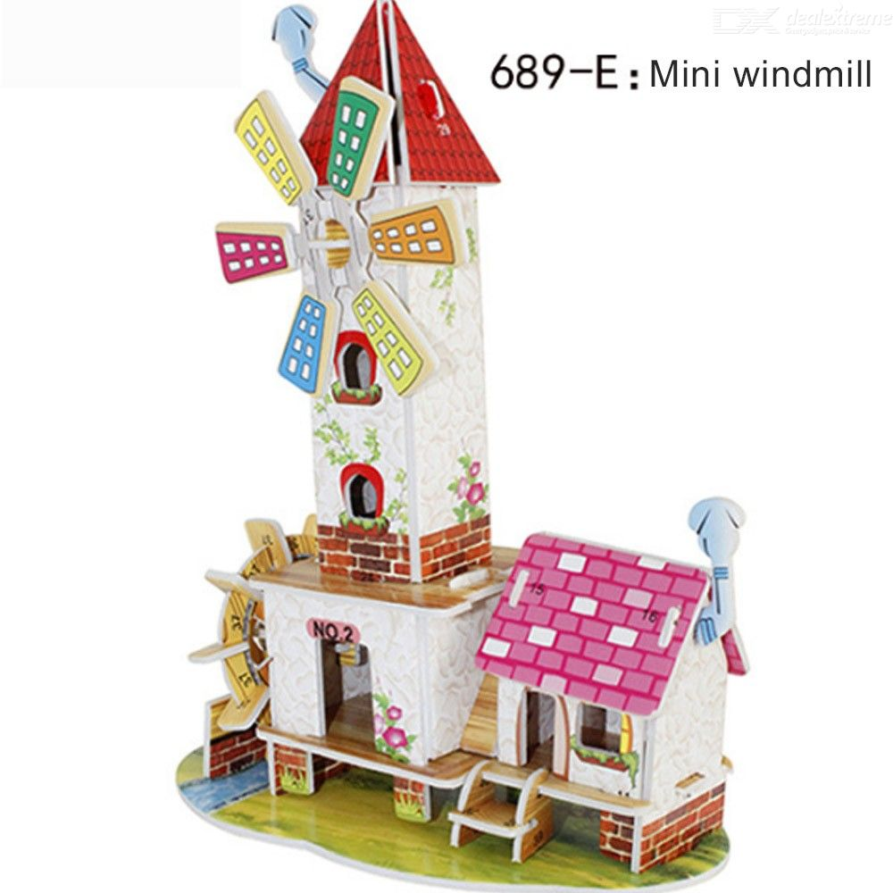 Educational 3D Puzzles DIY Windmill Paper Models For Toddlers