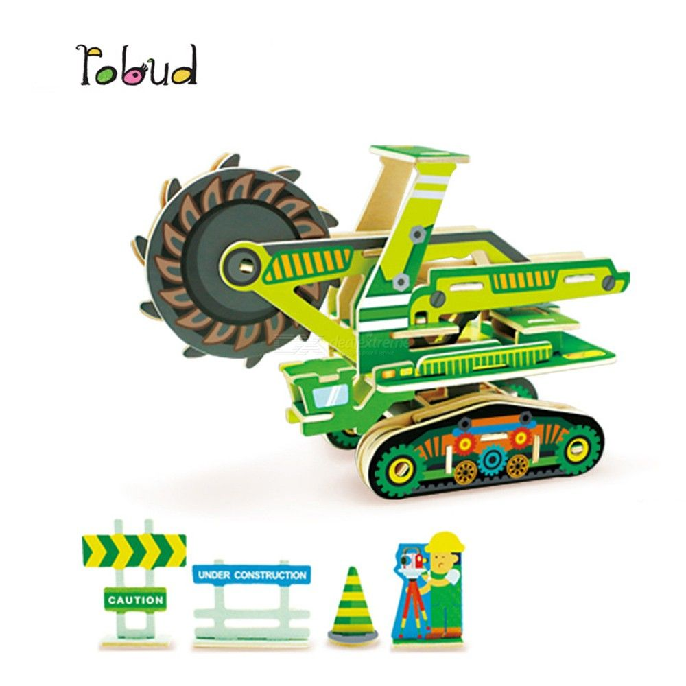 Creative Wooden 3D Puzzles Educational Harvester Assembly Jigsaw