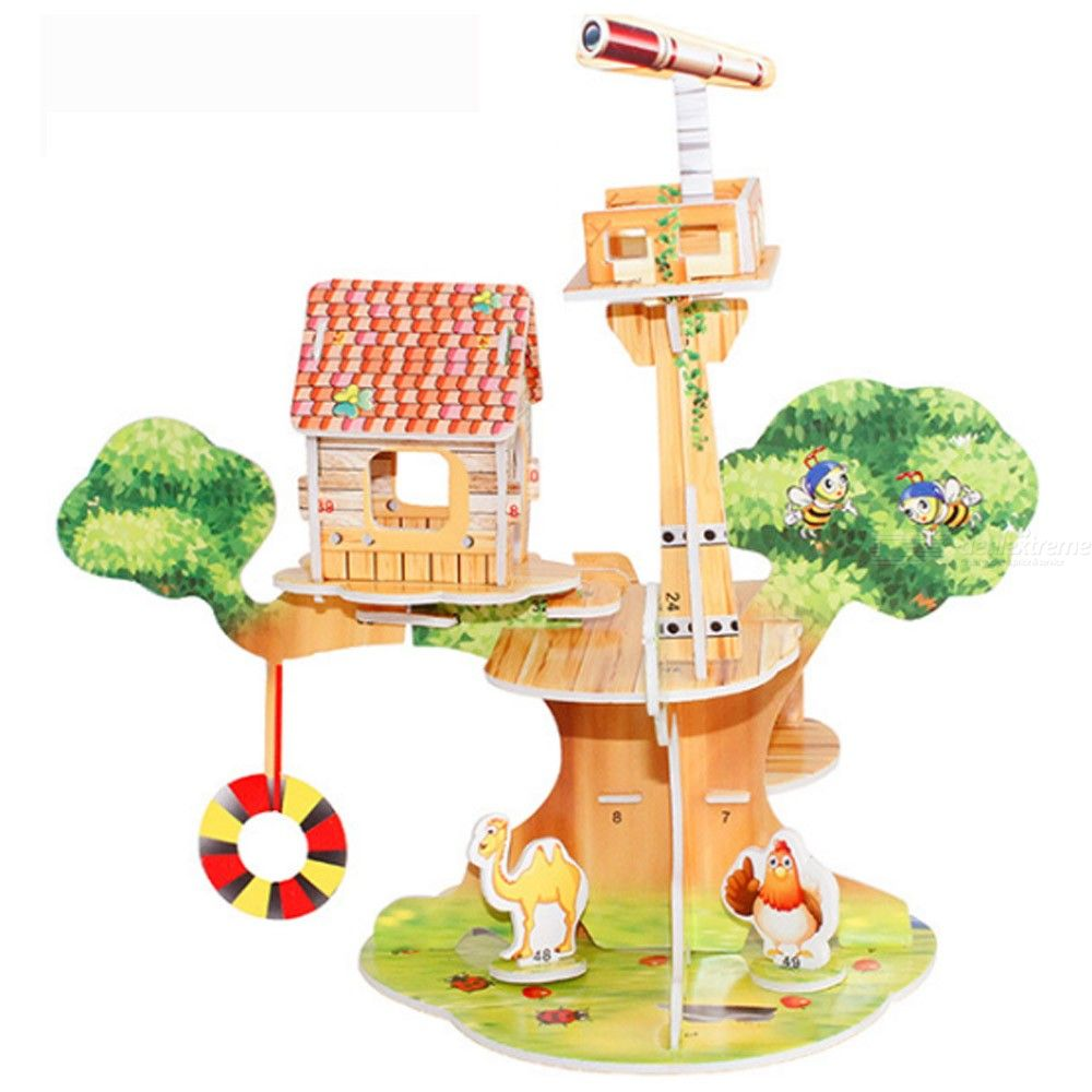 Educational 3D Puzzles DIY Tree House Paper Models For Toddlers