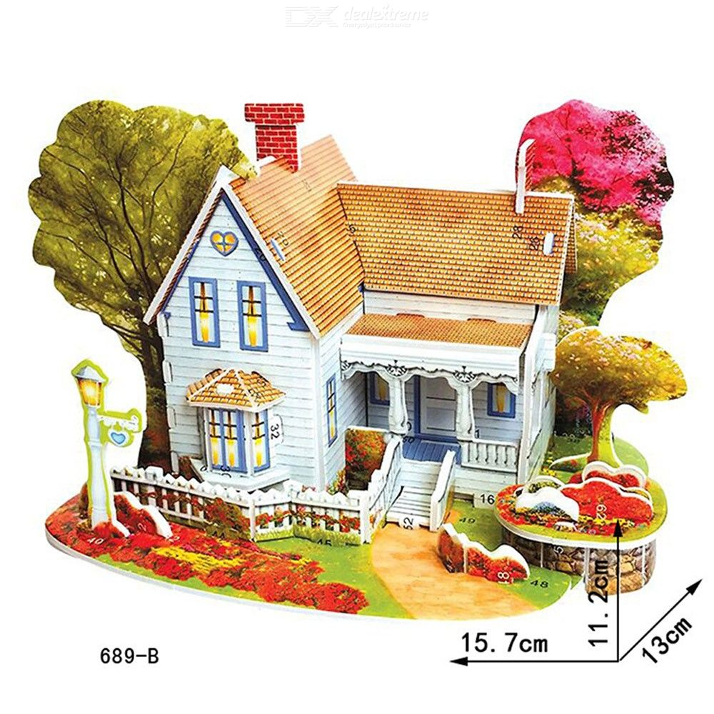 Educational 3D Puzzles Creative DIY Villa Paper Models For Toddlers