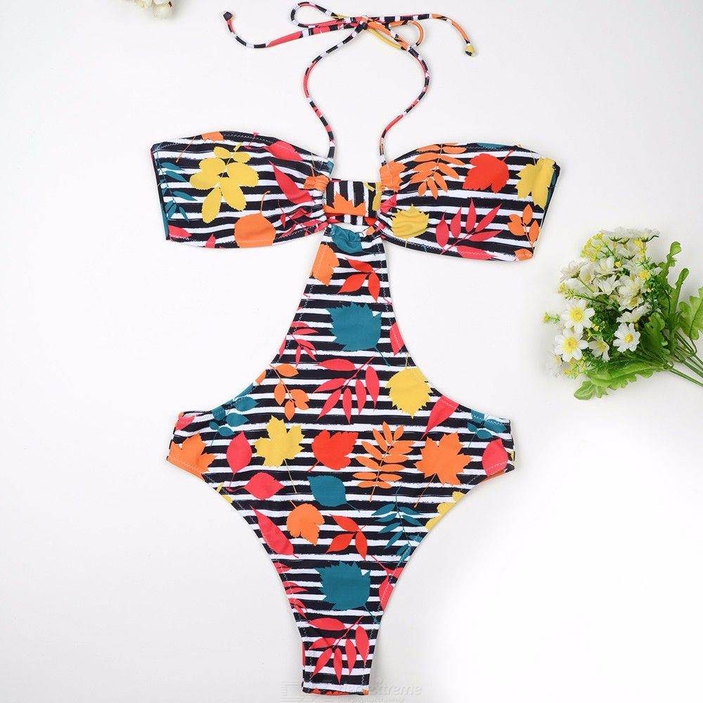 Womens One Piece Suit Halter-style Striped Backless Swimsuit