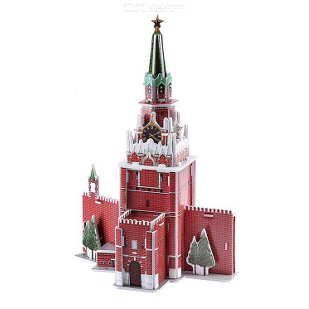 MB036 33PCS Creative 3D Puzzles DIY Spasskaya Tower Paper Models For Toddlers