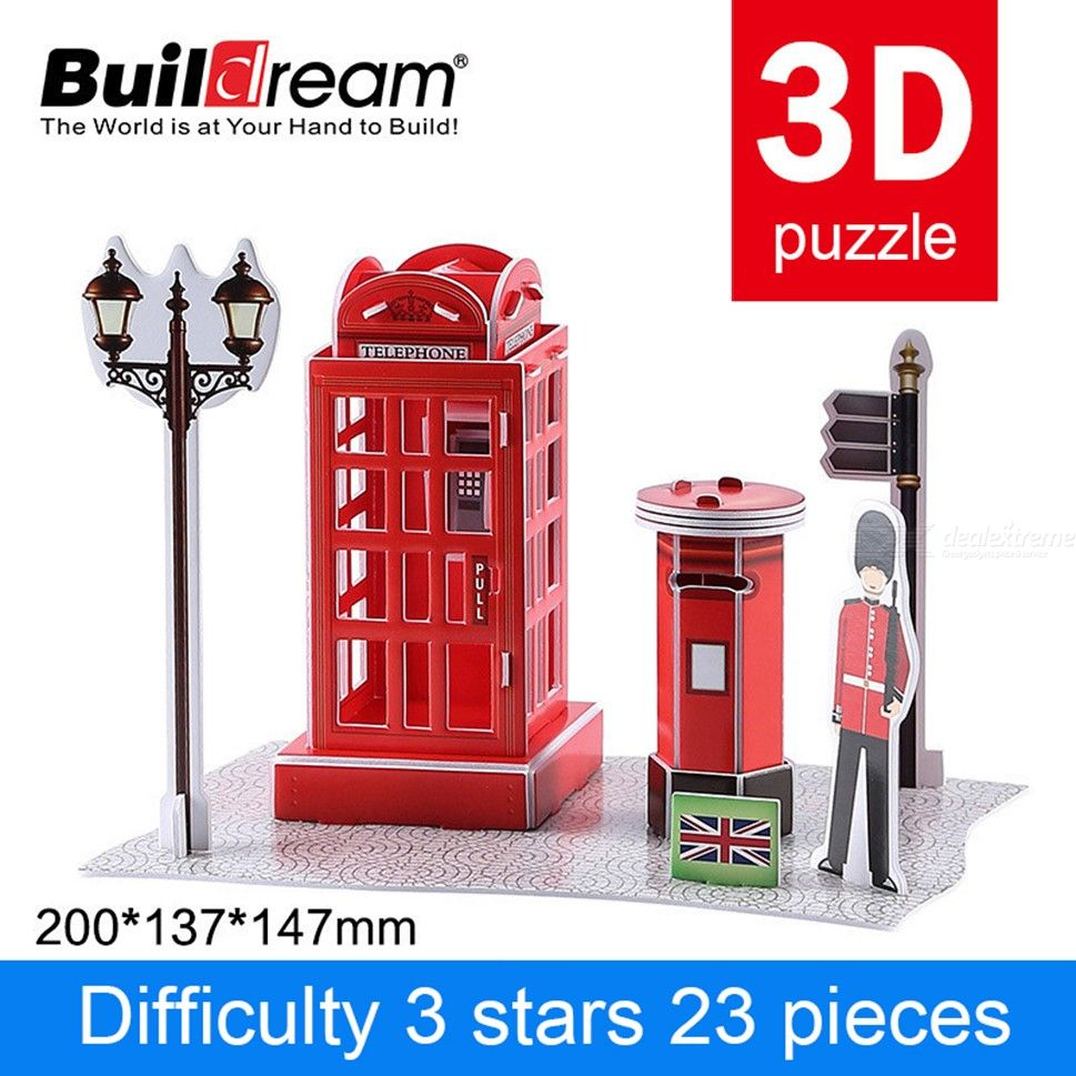 H035 20 X 13.7 X 14.7cm Creative 3D Puzzles DIY Telephone Booth Paper Models For Toddlers