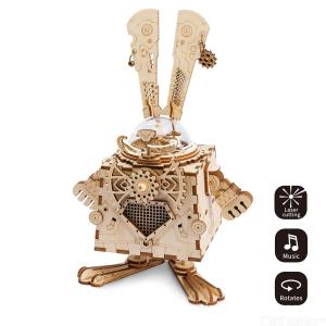 Creative 3D Puzzles DIY Wooden Rabbit Shaped Music Box Building Kit