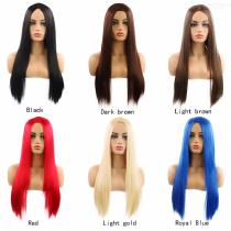 Long Straight Cosplay Wig Middle Part High Temperature Fiber Synthetic Hair