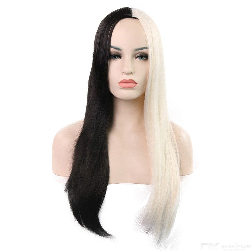 68CM-Womens-Long-Straight-Wig-Two-tone-Middle-Part-Hair