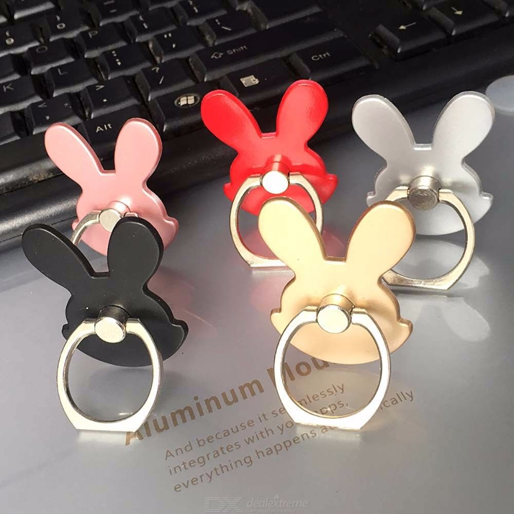 Cute Rabbit Ear Metal Ring Stand For Phone, Creative Universe Cartoon Kickstand