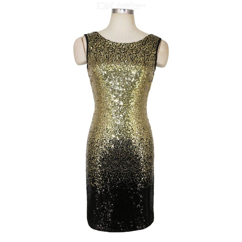 3a43b7825ae ... Summer Sequin Gradient Color Sleeveless Backless Club Sheath Party  Dresses For Women ...