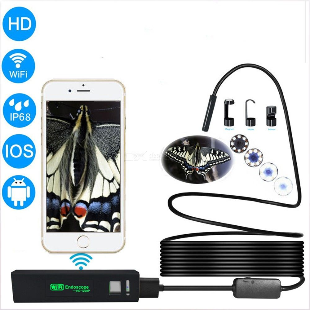 WiFi 2MP Borescope Inspection Camera Dimmable LED 1,200P Endoscope For IPHONE